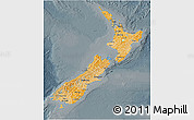 Political Shades 3D Map of New Zealand, darken, semi-desaturated