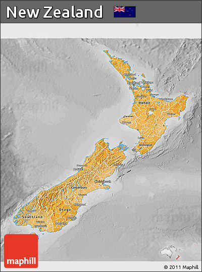 Political Shades 3D Map of New Zealand, desaturated