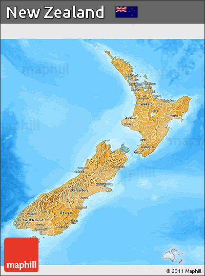 Political Shades 3D Map of New Zealand, desaturated, land only