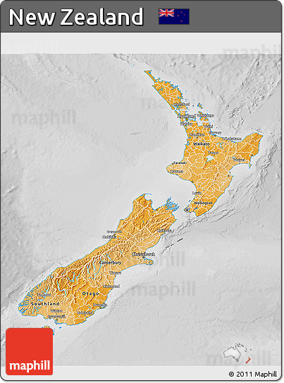 Political Shades 3D Map of New Zealand, lighten, desaturated