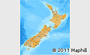 Political Shades 3D Map of New Zealand, lighten, desaturated, land only