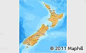Political Shades 3D Map of New Zealand, lighten, land only