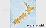 Political Shades 3D Map of New Zealand, lighten