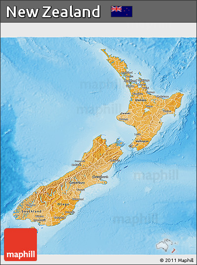Political Shades 3D Map of New Zealand, physical outside