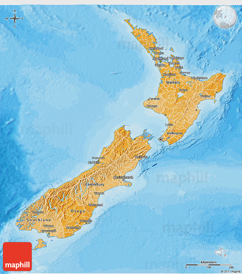 political shades 3d map of new zealand