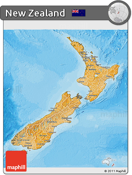 Political Shades 3D Map of New Zealand, satellite outside, bathymetry sea