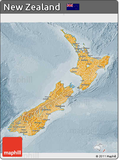Political Shades 3D Map of New Zealand, semi-desaturated