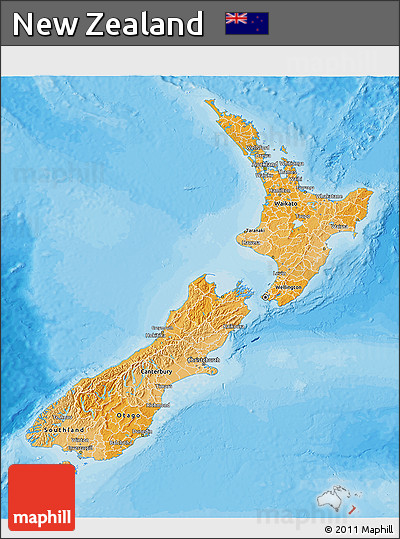 Political Shades 3D Map of New Zealand, shaded relief outside, bathymetry sea