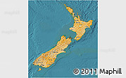 Political Shades 3D Map of New Zealand, single color outside, satellite sea