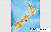 Political Shades 3D Map of New Zealand, single color outside, shaded relief sea