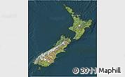 Satellite 3D Map of New Zealand, darken