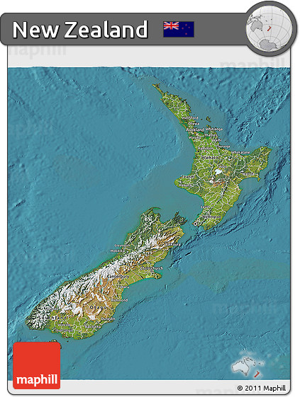 Satellite 3D Map of New Zealand