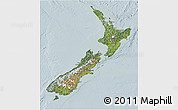 Satellite 3D Map of New Zealand, lighten