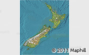 Satellite 3D Map of New Zealand, physical outside, satellite sea