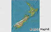 Satellite 3D Map of New Zealand, political outside, satellite sea