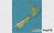 Satellite 3D Map of New Zealand, political shades outside, satellite sea