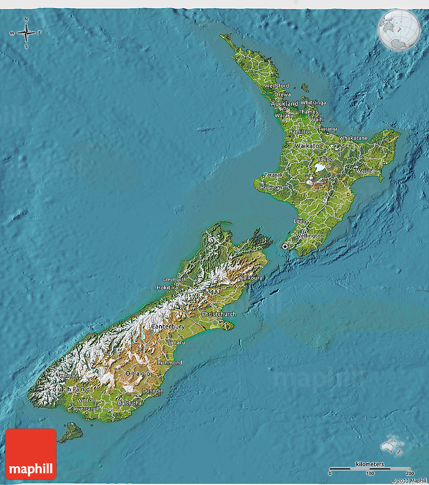 Satellite 3D Map of New Zealand on aerial view world map, continents and oceans flat map, space map, security map, phone map, mobile map, sat map, sky map, networking map,