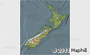 Satellite 3D Map of New Zealand, semi-desaturated