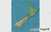 Satellite 3D Map of New Zealand, shaded relief outside, satellite sea