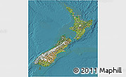 Satellite 3D Map of New Zealand, single color outside