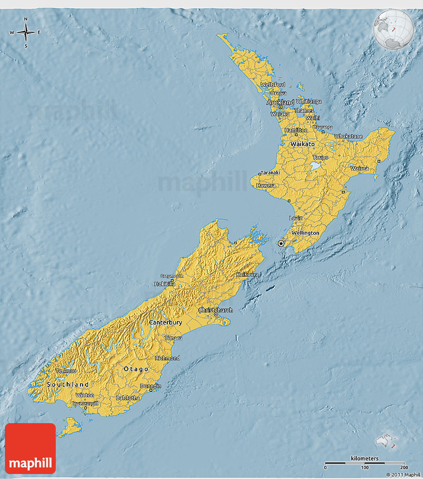 3d Map Of New Zealand.Savanna Style 3d Map Of New Zealand