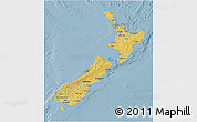 Savanna Style 3D Map of New Zealand, single color outside