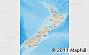 Shaded Relief 3D Map of New Zealand, darken, semi-desaturated, land only