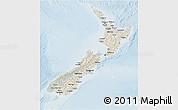 Shaded Relief 3D Map of New Zealand, lighten