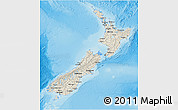 Shaded Relief 3D Map of New Zealand, single color outside