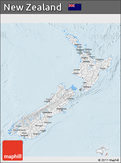 Silver Style 3D Map of New Zealand