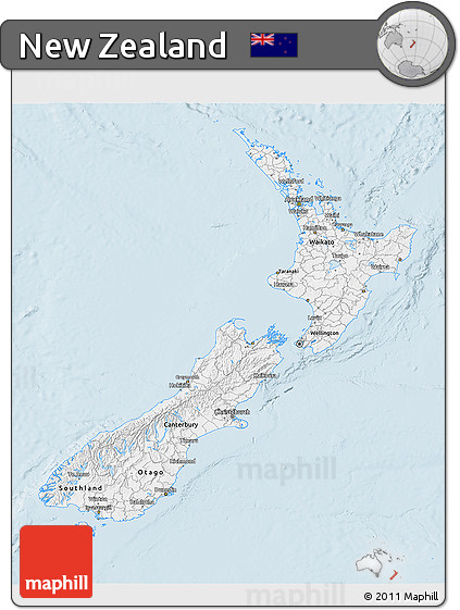 Silver Style 3D Map of New Zealand, single color outside