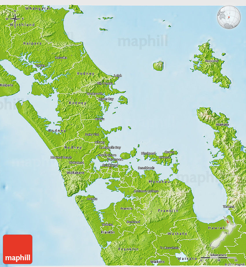 Physical 3D Map of Auckland