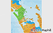 Political 3D Map of Auckland