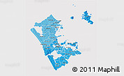 Political Shades 3D Map of Auckland, cropped outside