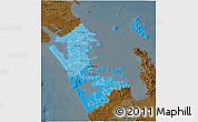 Political Shades 3D Map of Auckland, darken