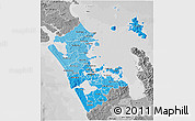 Political Shades 3D Map of Auckland, desaturated