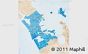 Political Shades 3D Map of Auckland, lighten