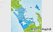 Political Shades 3D Map of Auckland, physical outside