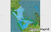 Political Shades 3D Map of Auckland, satellite outside