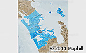 Political Shades 3D Map of Auckland, semi-desaturated