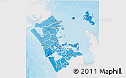 Political Shades 3D Map of Auckland, single color outside