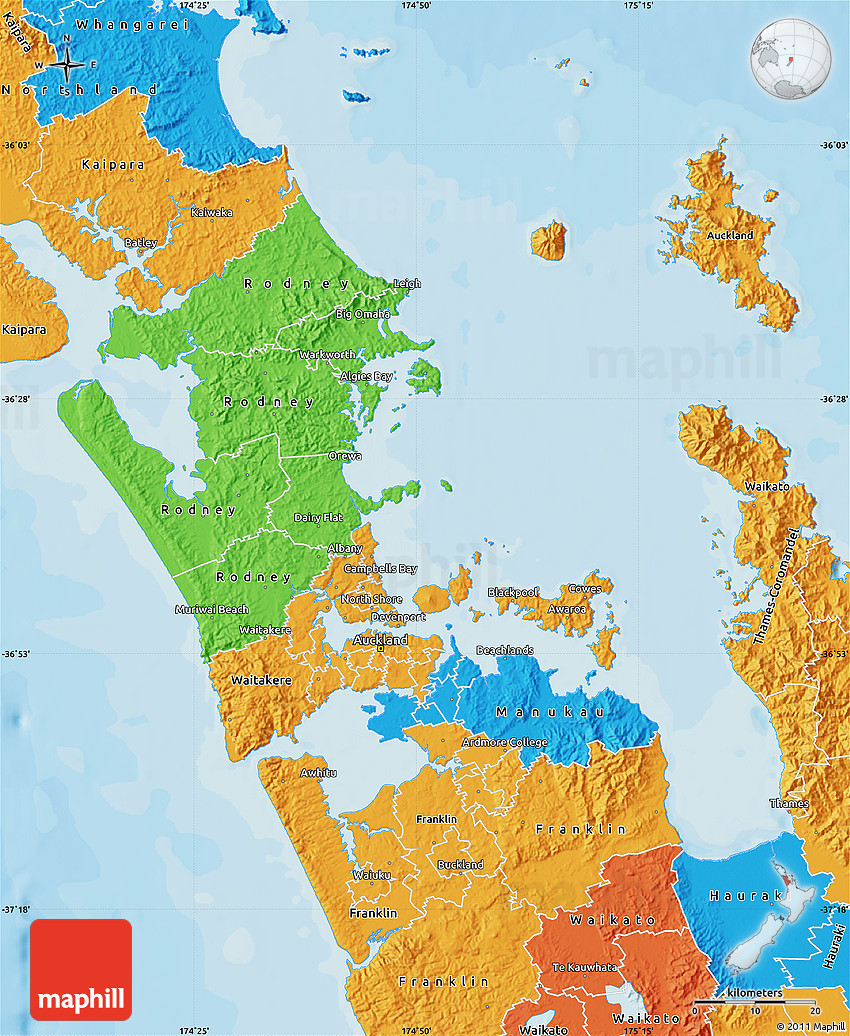 Political Map of Auckland
