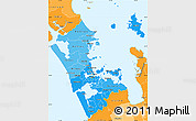Political Shades Simple Map of Auckland