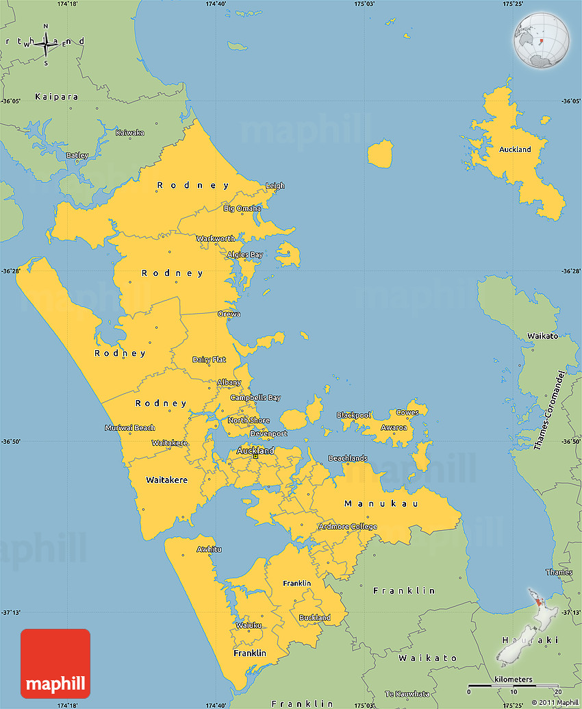 Savanna Style Simple Map of Auckland