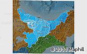 Political Shades 3D Map of Bay of Plenty, darken