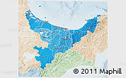 Political Shades 3D Map of Bay of Plenty, lighten