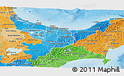 Political Shades Panoramic Map of Bay of Plenty