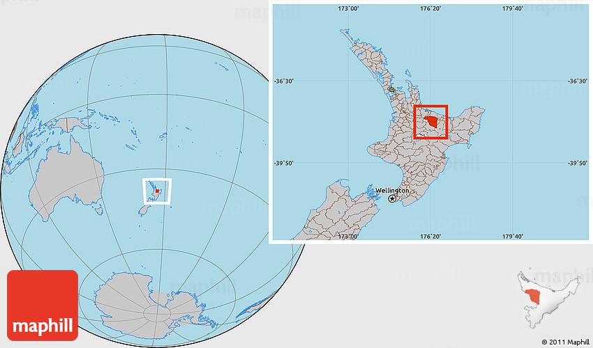 Map Of Rotorua New Zealand.Gray Location Map Of Rotorua