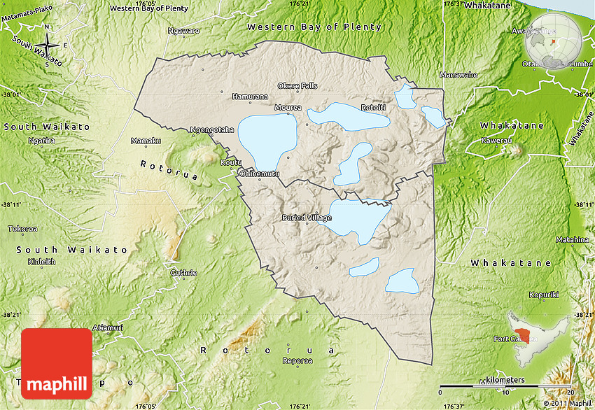 Shaded Relief Map of Rotorua physical outside