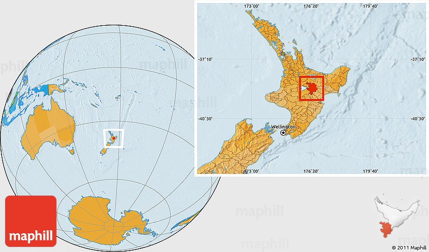 Where Is New Zealand In World Map.Political Location Map Of Taupo